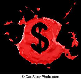 Red blob US dollar symbol over black