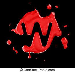 Red blob W letter over black background. Large resolution