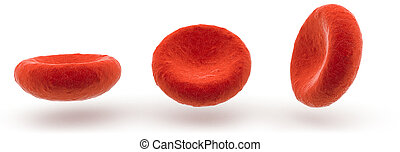 red blood cells on white background, 3D illustration - three...