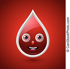Red blood character icon - Blood character icon isolated on...