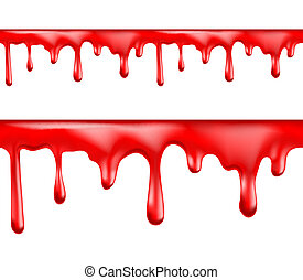 Red blood drips seamless patterns on white background. Vector illustration