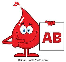 Red Blood Drop Cartoon Character Show A Board With Blood Type AB