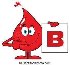 Red Blood Drop Cartoon Character Show A Board With Blood Type B
