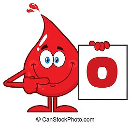 Red Blood Drop Cartoon Character Show A Board With Blood Type O.