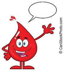 Red Blood Drop Cartoon Character Waving For Greeting