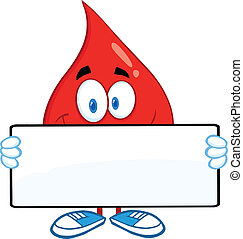 Red Blood Drop Holding A Banner - Red Blood Drop Cartoon...