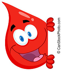 Red Blood Drop Looking Around A Sig - Blood Guy Smiling...
