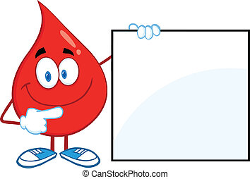 Red Blood Drop Showing A Blank Sign - Red Blood Drop Cartoon...