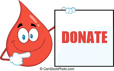 Red Blood Drop Showing A Blank Sign
