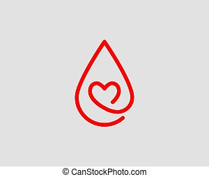 Red blood drop vector icon isolated on white background.