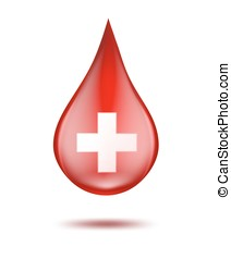 Red blood drop with cross on white. vector illustration.