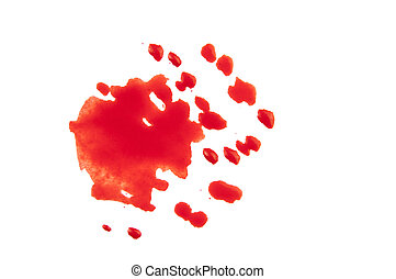 red blood drops on white paper, red spots, splashes of red paint on a white background, isolated white background
