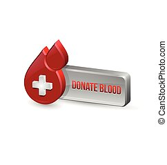 Red blood medical icon with button