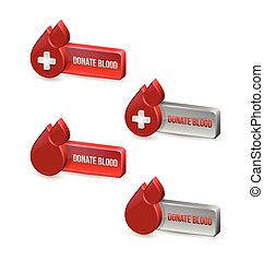Red blood medical icons with buttons