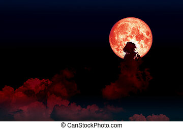 red blood moon back silhouette cloud night sky