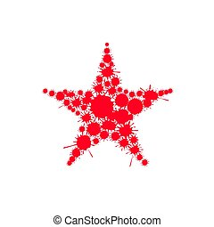 Red blood splash star. Communism symbol. Authoritarian...