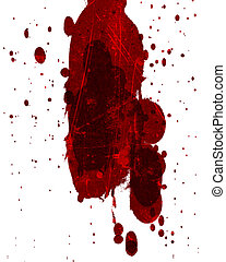 blood splatter - red blood splatter on a solid white...