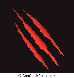 Red bloody claw deep scratches vector illustration.