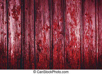 Red bloody Natural old wood texture. Grunge background old...