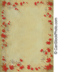 Red blossom flower border on textured light background