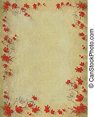 Red blossom flower border on textured light background