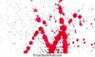 Red blots splashing on blank paper