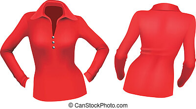 Red blouse with long sleeves in front and back view....