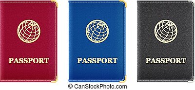 Red, blue, and black passport cover.