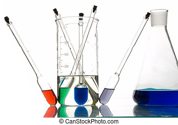 red, blue and green retorts with liquids, white background, ...