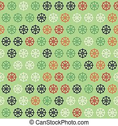 Red, Blue and Green Ship Helm Pattern on Green Background