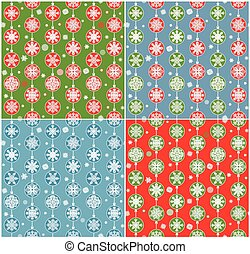 Red, blue and green wallpapers with hanging baubles for winter holidays