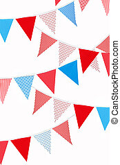 red, blue and white flags on white background - festive red...