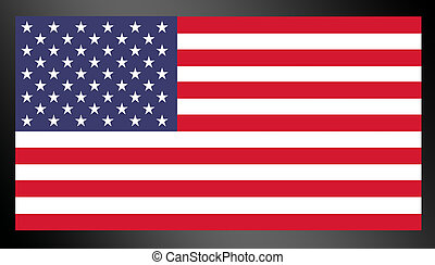 red, blue and white united states flag over black background