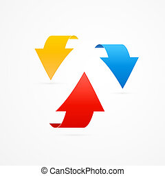 Red, Blue and Yellow 3d Vector Arrows