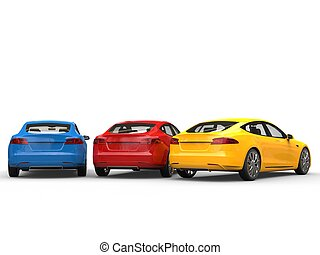 Red, blue and yellow modern electric business cars - back view