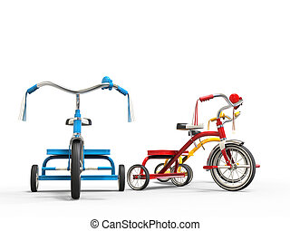 Red, blue and yellow tricycles - side view
