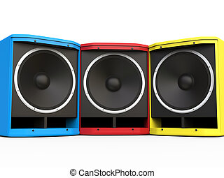Red, BLue and Yellow woofer speakers