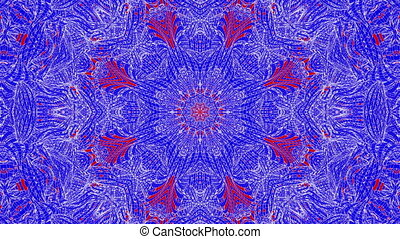 red-blue animated patterns. abstract kaleidoscope. 3d render