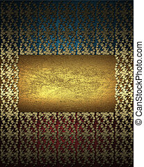 Red-blue background with gold pattern. Design template