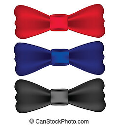 red, blue, black bow ties isolated on white
