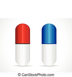 red & blue capsule vector illustration