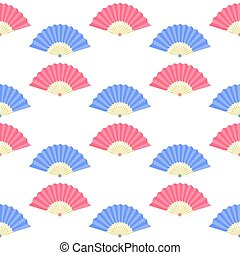 Red Blue Fan Seamless Pattern