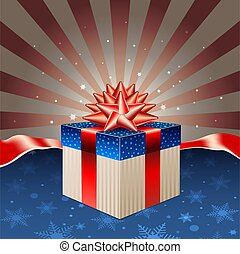Red blue gift box on retro background