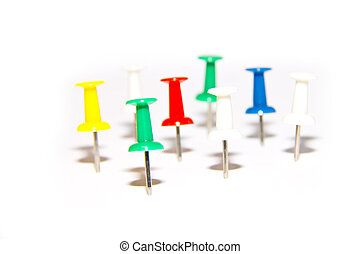 red, blue, green and white pushpins