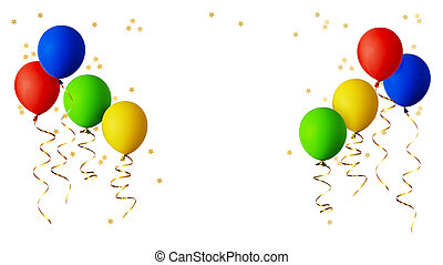 Red, blue, green and yellow balloons with gold ribbons and star shape confetti