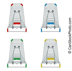 Red, blue, green and yellow supermarket shopping carts set. 3d top view vector illustration. Photo realistic empty basket for food products. Customers market trolley mockup