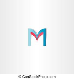 red blue letter m logotype element vector icon