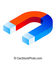 Red blue magnet icon, isometric style