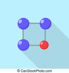 Red blue molecule icon, flat style