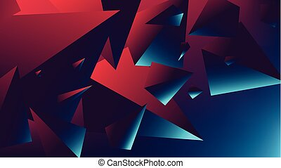 Red blue neon light with a reflection on triangle, gradient...